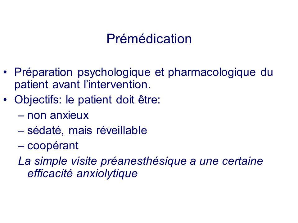 Prémédication Préparation psychologique et pharmacologique du patient avant lintervention. Objectifs: le patient doit être: –non anxieux –sédaté, mais