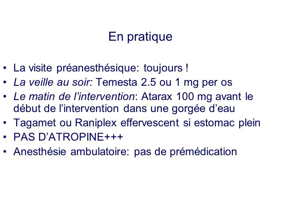 En pratique La visite préanesthésique: toujours ! La veille au soir: Temesta 2.5 ou 1 mg per os Le matin de lintervention: Atarax 100 mg avant le débu