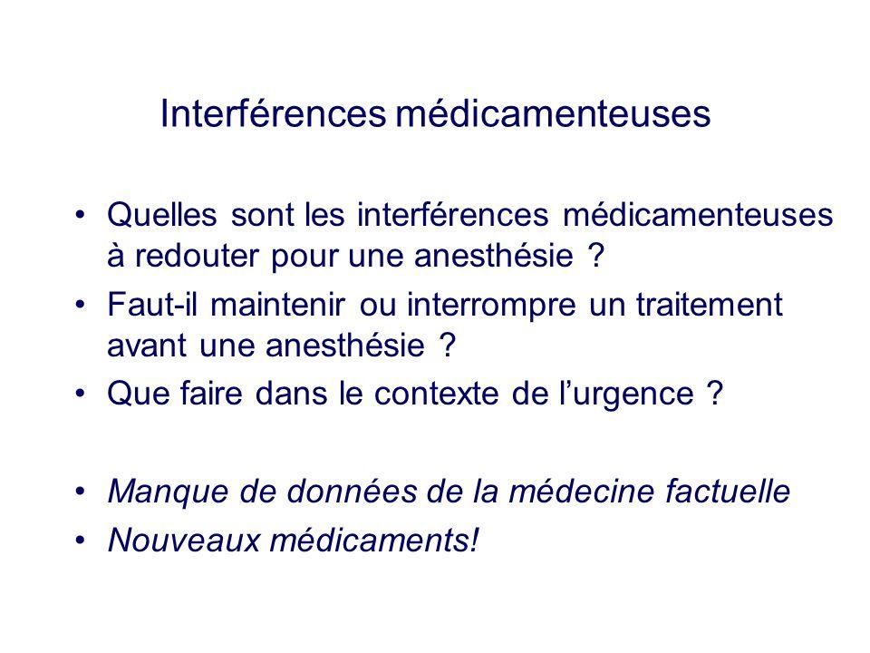 Interférences médicamenteuses Quelles sont les interférences médicamenteuses à redouter pour une anesthésie ? Faut-il maintenir ou interrompre un trai