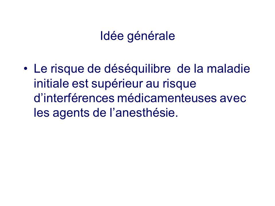 Idée générale Le risque de déséquilibre de la maladie initiale est supérieur au risque dinterférences médicamenteuses avec les agents de lanesthésie.