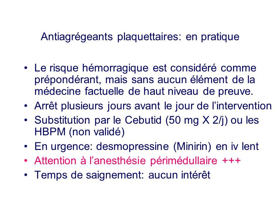 Antiagrégeants plaquettaires: en pratique Le risque hémorragique est considéré comme prépondérant, mais sans aucun élément de la médecine factuelle de