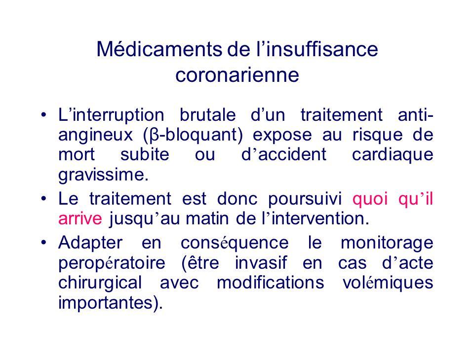 Médicaments de linsuffisance coronarienne Linterruption brutale dun traitement anti- angineux (β-bloquant) expose au risque de mort subite ou d accide