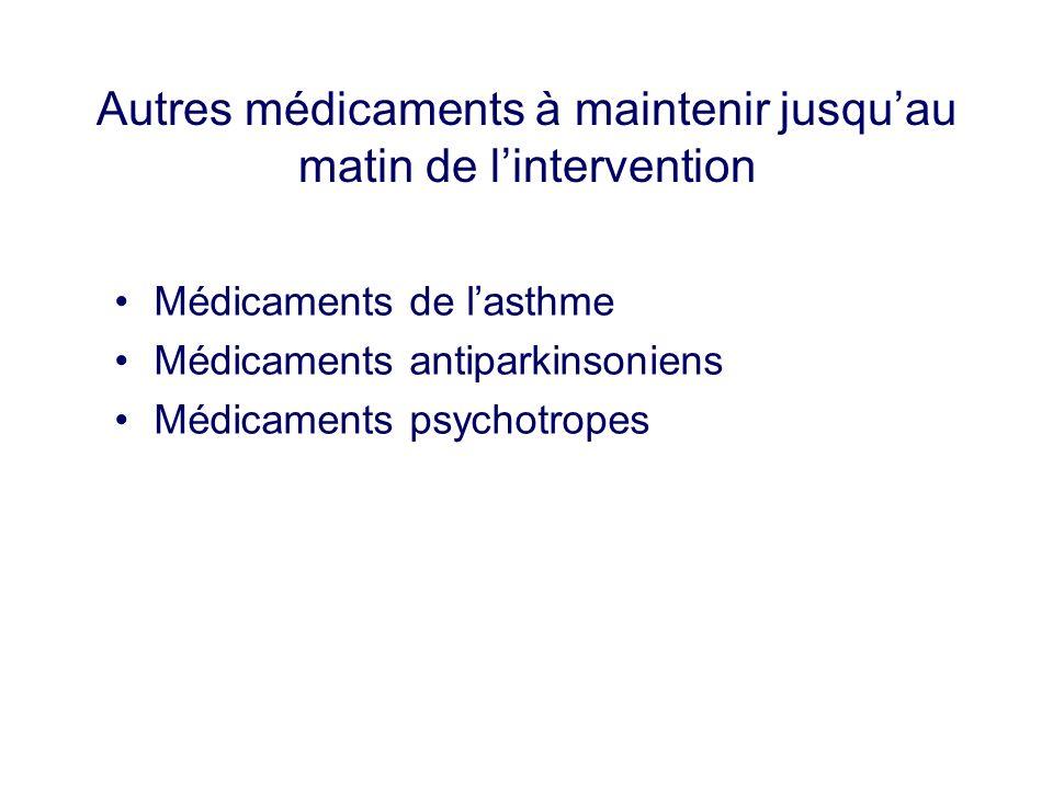 Autres médicaments à maintenir jusquau matin de lintervention Médicaments de lasthme Médicaments antiparkinsoniens Médicaments psychotropes