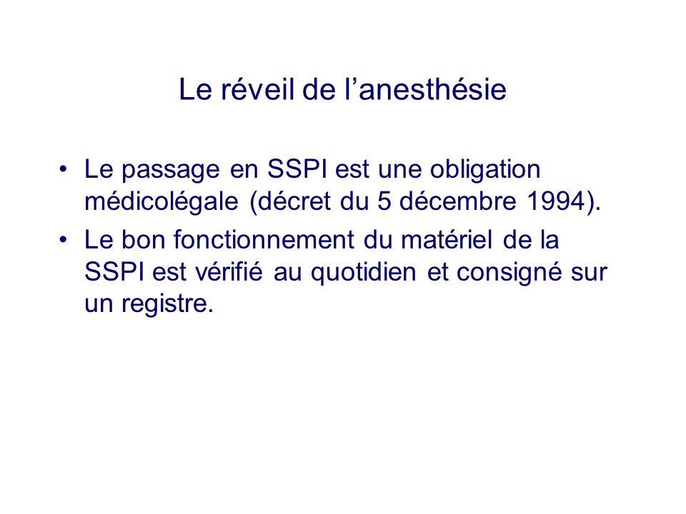 Le passage en SSPI est une obligation médicolégale (décret du 5 décembre 1994). Le bon fonctionnement du matériel de la SSPI est vérifié au quotidien