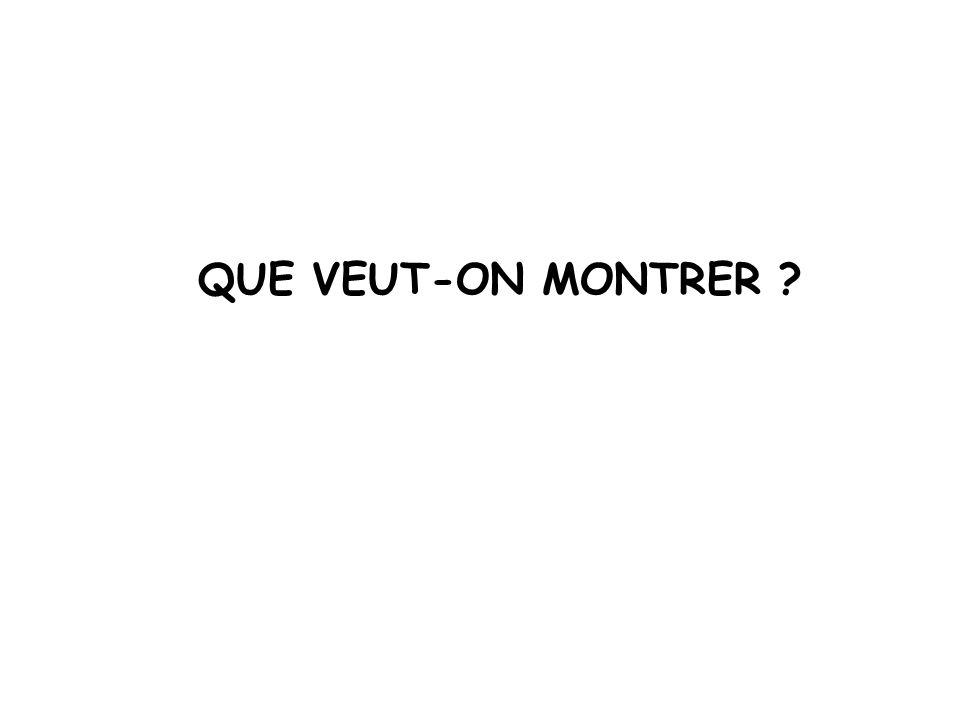 QUE VEUT-ON MONTRER ?