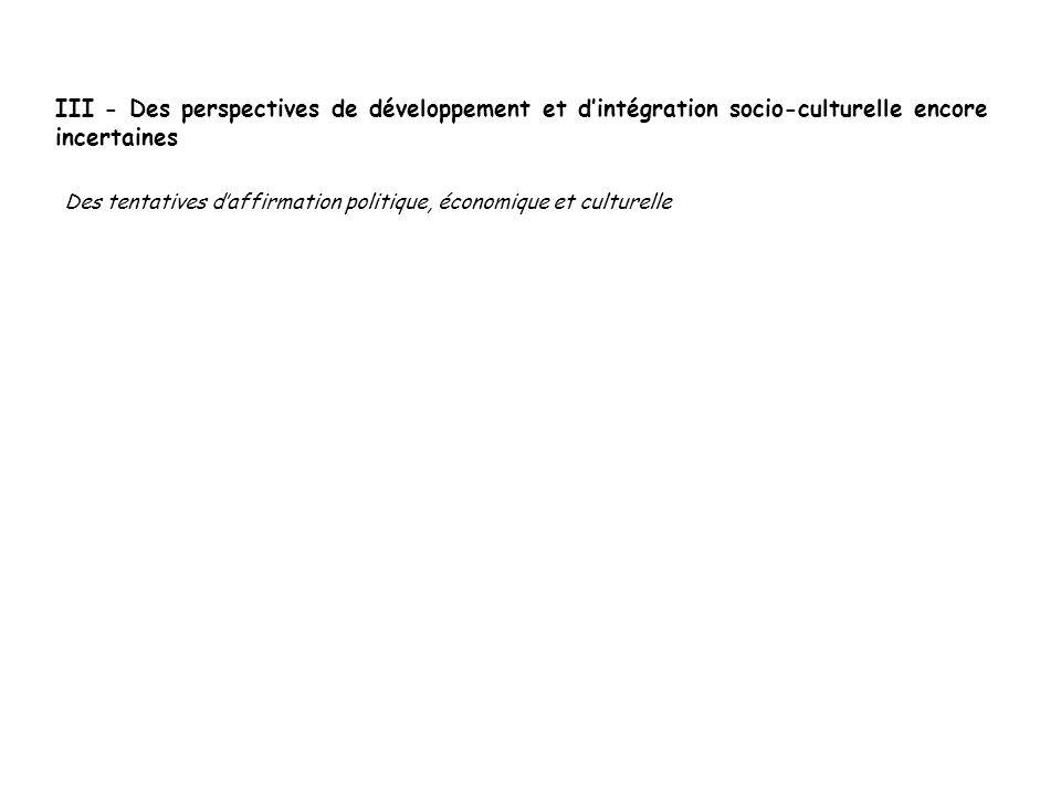 III - Des perspectives de développement et dintégration socio-culturelle encore incertaines Des tentatives daffirmation politique, économique et cultu