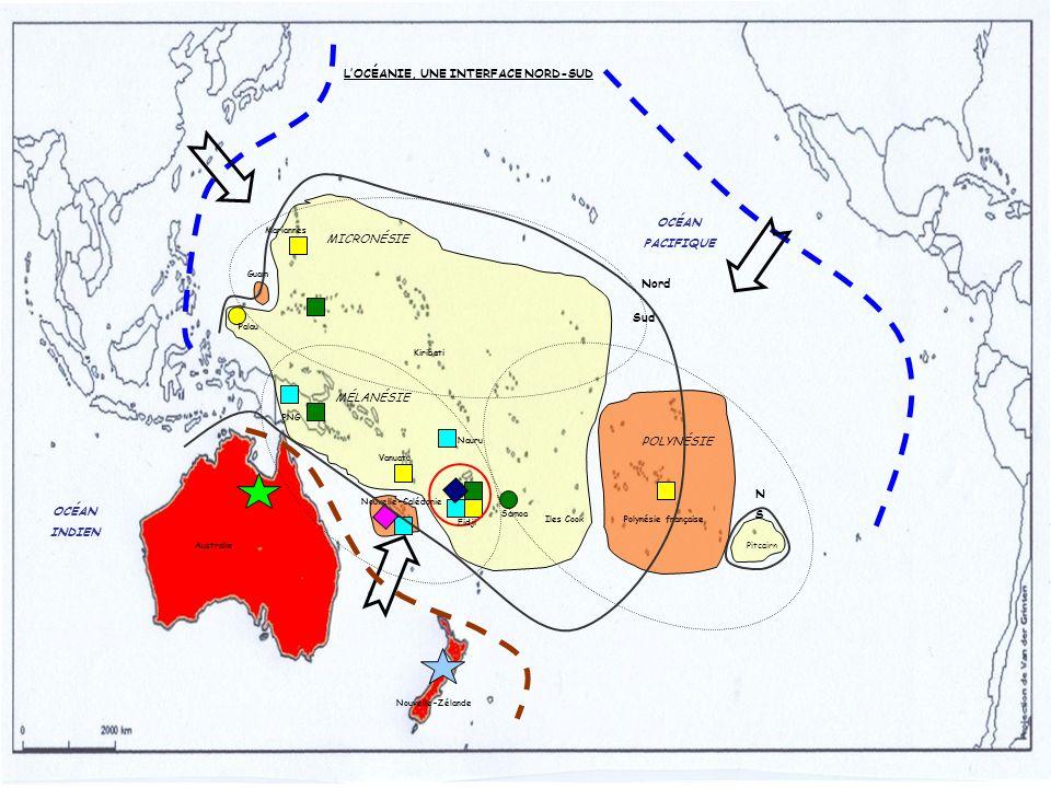 Nord Sud MICRONÉSIE POLYNÉSIE MÉLANÉSIE Pitcairn Polynésie française Mariannes Australie Nouvelle-Zélande PNG Fidji Kiribati Nauru Nouvelle-Calédonie