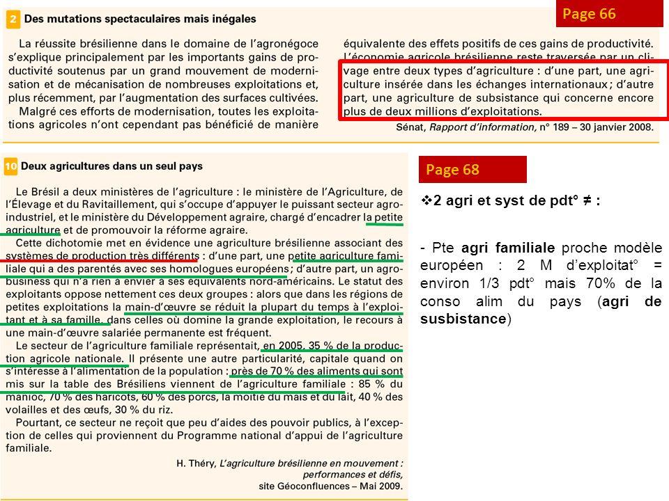 Page 66 Page 68 2 agri et syst de pdt° : - Pte agri familiale proche modèle européen : 2 M dexploitat° = environ 1/3 pdt° mais 70% de la conso alim du