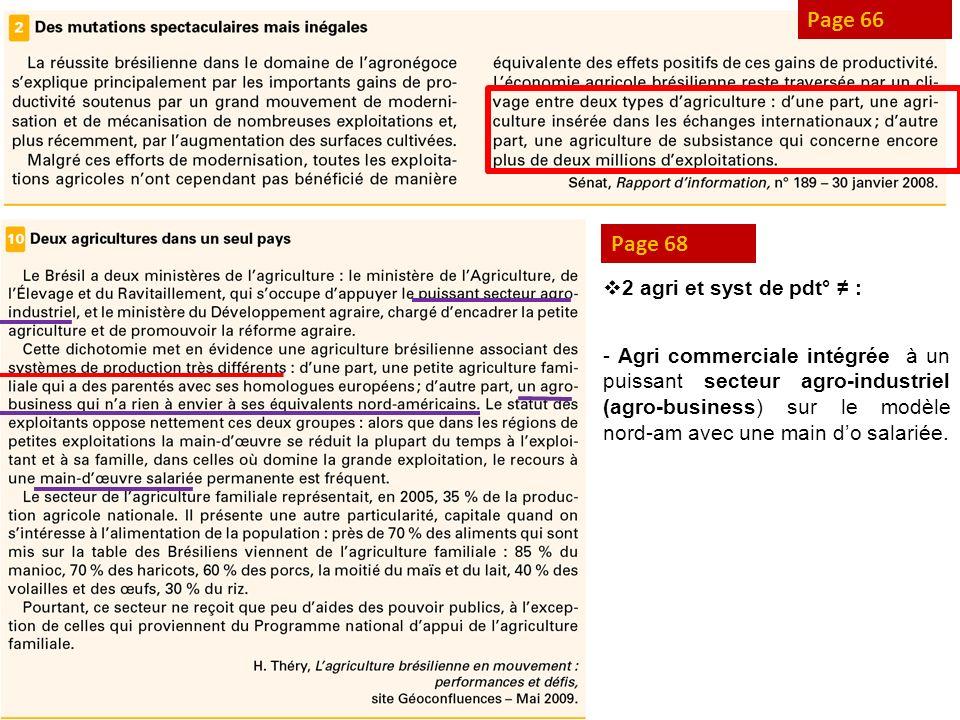 Page 66 Page 68 2 agri et syst de pdt° : - Agri commerciale intégrée à un puissant secteur agro-industriel (agro-business) sur le modèle nord-am avec