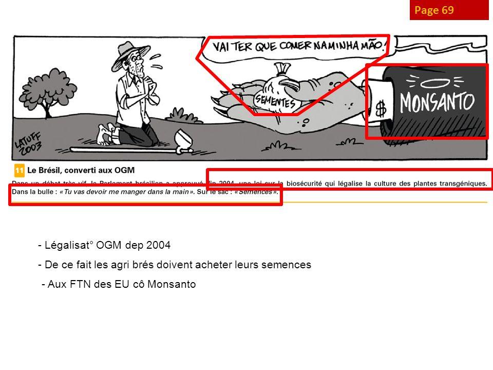 Page 69 - Légalisat° OGM dep 2004 - De ce fait les agri brés doivent acheter leurs semences - Aux FTN des EU cô Monsanto