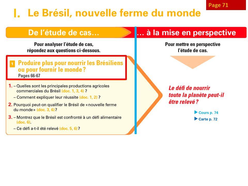 Page 69 - cult destinées au marché extérieur et intérieur, ici pour la même plante, la canne à sucre : ¨sucre pour létranger, éthanol pour Brésil.