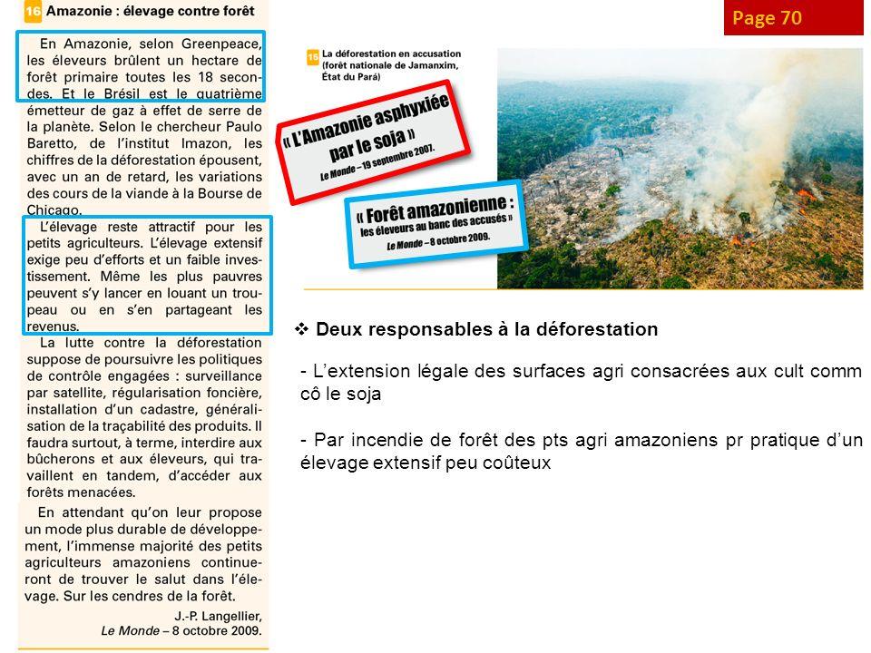 Page 70 Deux responsables à la déforestation - Lextension légale des surfaces agri consacrées aux cult comm cô le soja - Par incendie de forêt des pts