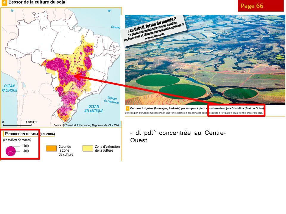 Page 68 Agri familiale maj située au Nord-Est - ½ des exp°, + 1/3 des surf = minifundia ( 10 ha) - Bcp moins présente ds autres rég° brés : slt 5% des exp° au Centre-Ouest - Agri peu pdtive