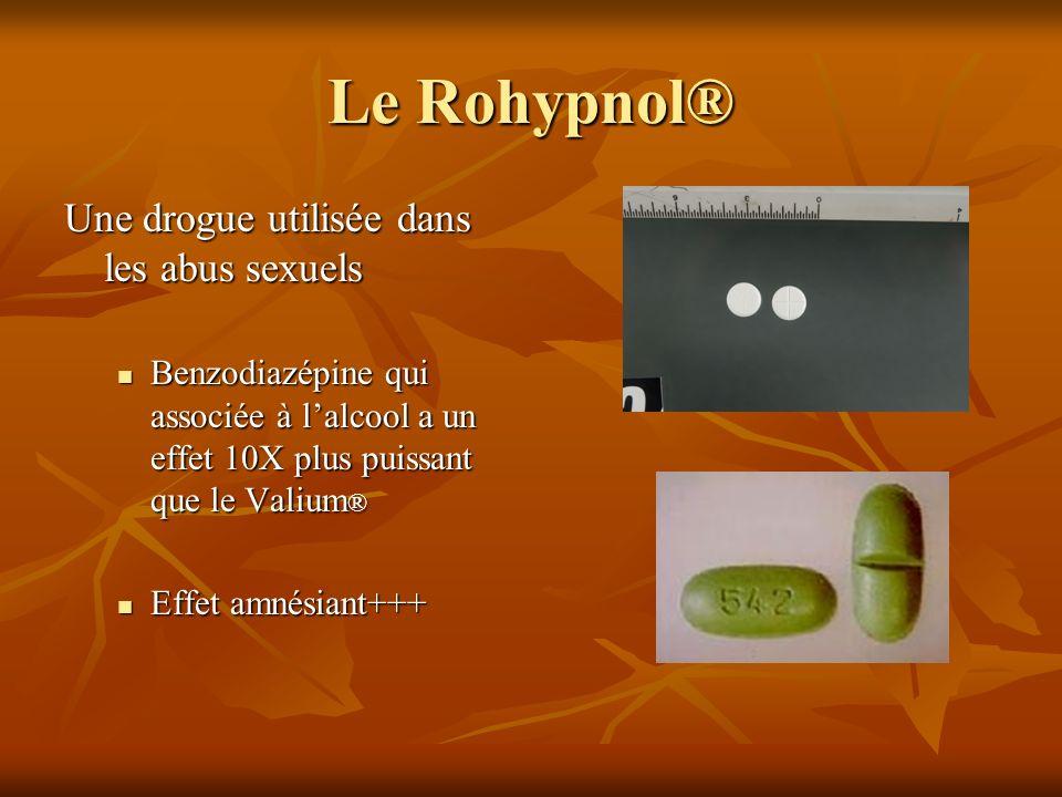 Le Rohypnol® Une drogue utilisée dans les abus sexuels Benzodiazépine qui associée à lalcool a un effet 10X plus puissant que le Valium ® Benzodiazépi