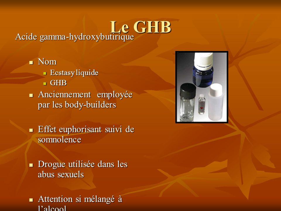 Le GHB Acide gamma-hydroxybutirique Nom Nom Ecstasy liquide Ecstasy liquide GHB GHB Anciennement employée par les body-builders Anciennement employée