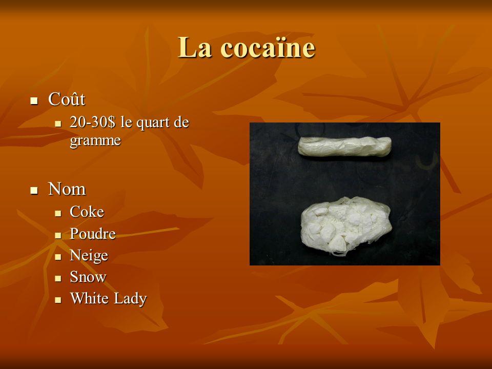 La cocaïne Coût Coût 20-30$ le quart de gramme 20-30$ le quart de gramme Nom Nom Coke Coke Poudre Poudre Neige Neige Snow Snow White Lady White Lady