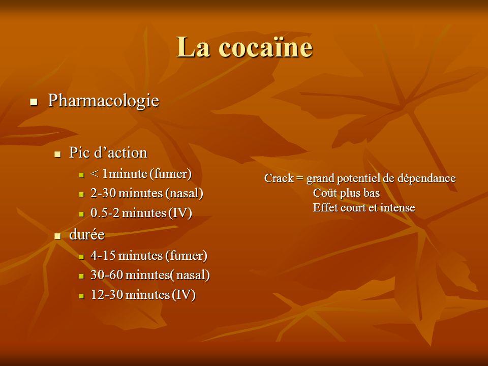 La cocaïne Pharmacologie Pharmacologie Pic daction Pic daction < 1minute (fumer) < 1minute (fumer) 2-30 minutes (nasal) 2-30 minutes (nasal) 0.5-2 min