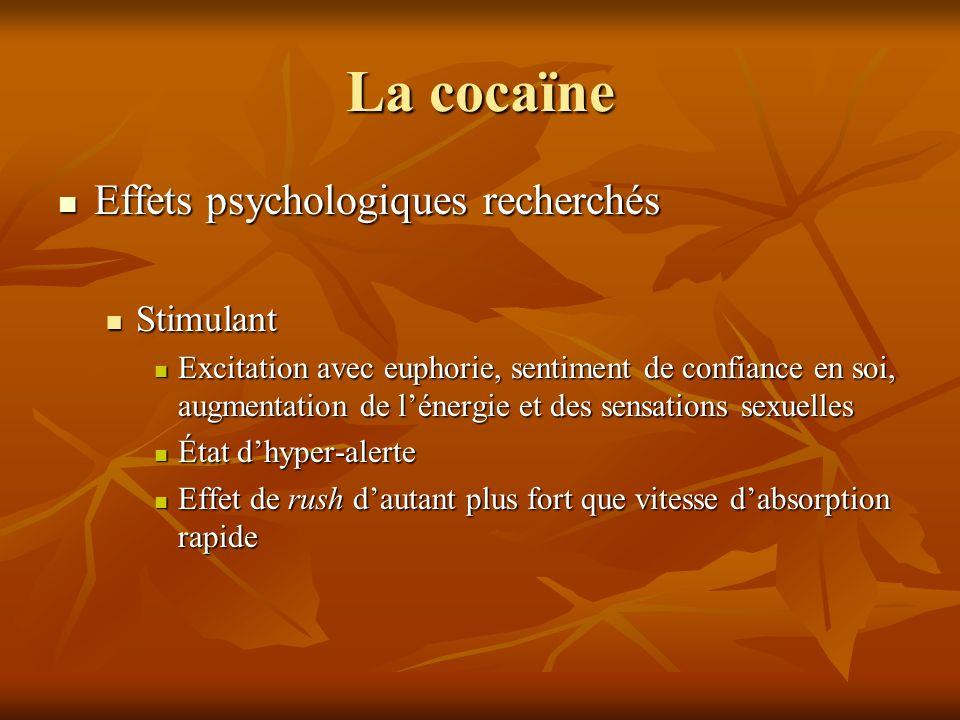 La cocaïne Effets psychologiques recherchés Effets psychologiques recherchés Stimulant Stimulant Excitation avec euphorie, sentiment de confiance en s