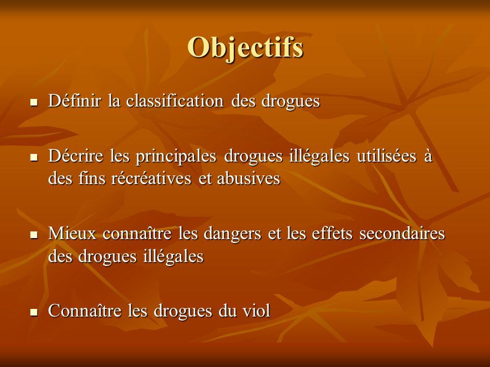 Objectifs Définir la classification des drogues Définir la classification des drogues Décrire les principales drogues illégales utilisées à des fins r
