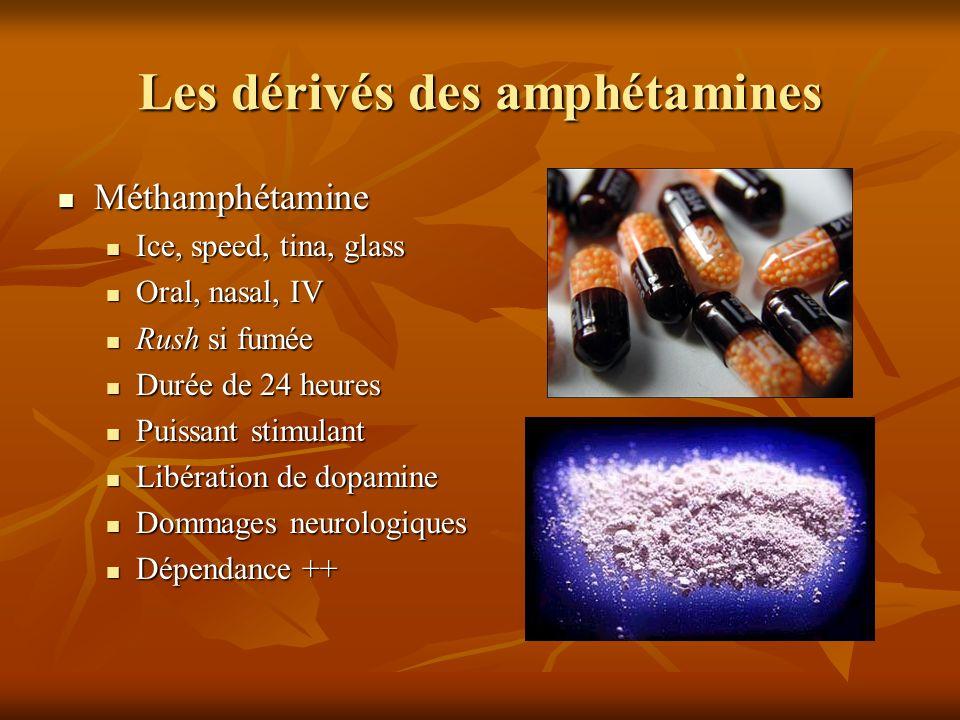 Les dérivés des amphétamines Méthamphétamine Méthamphétamine Ice, speed, tina, glass Ice, speed, tina, glass Oral, nasal, IV Oral, nasal, IV Rush si f