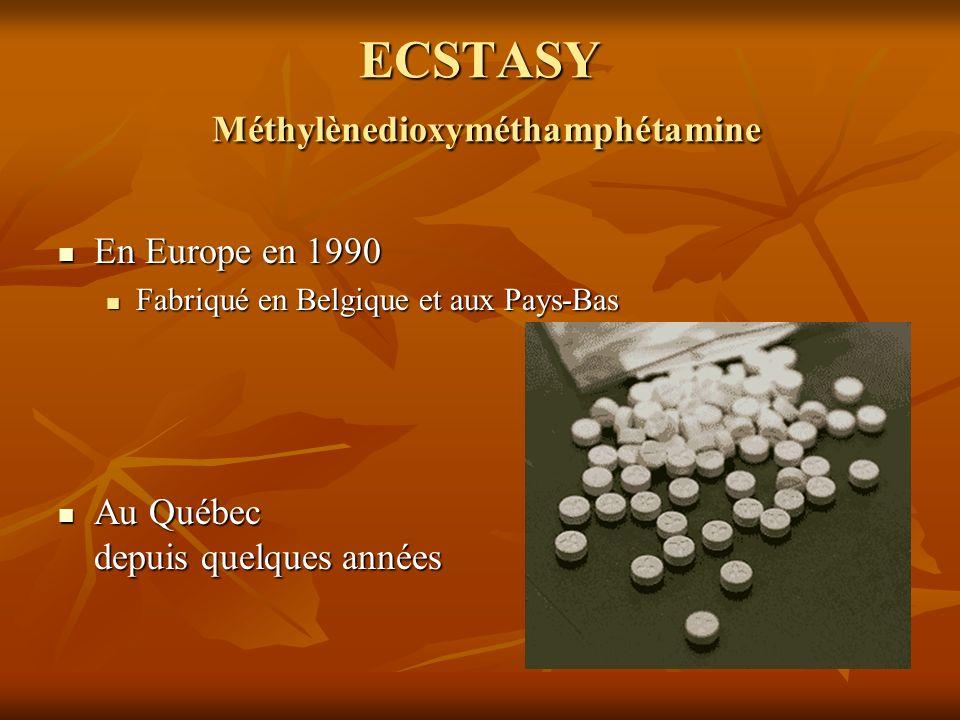 ECSTASY Méthylènedioxyméthamphétamine En Europe en 1990 En Europe en 1990 Fabriqué en Belgique et aux Pays-Bas Fabriqué en Belgique et aux Pays-Bas Au