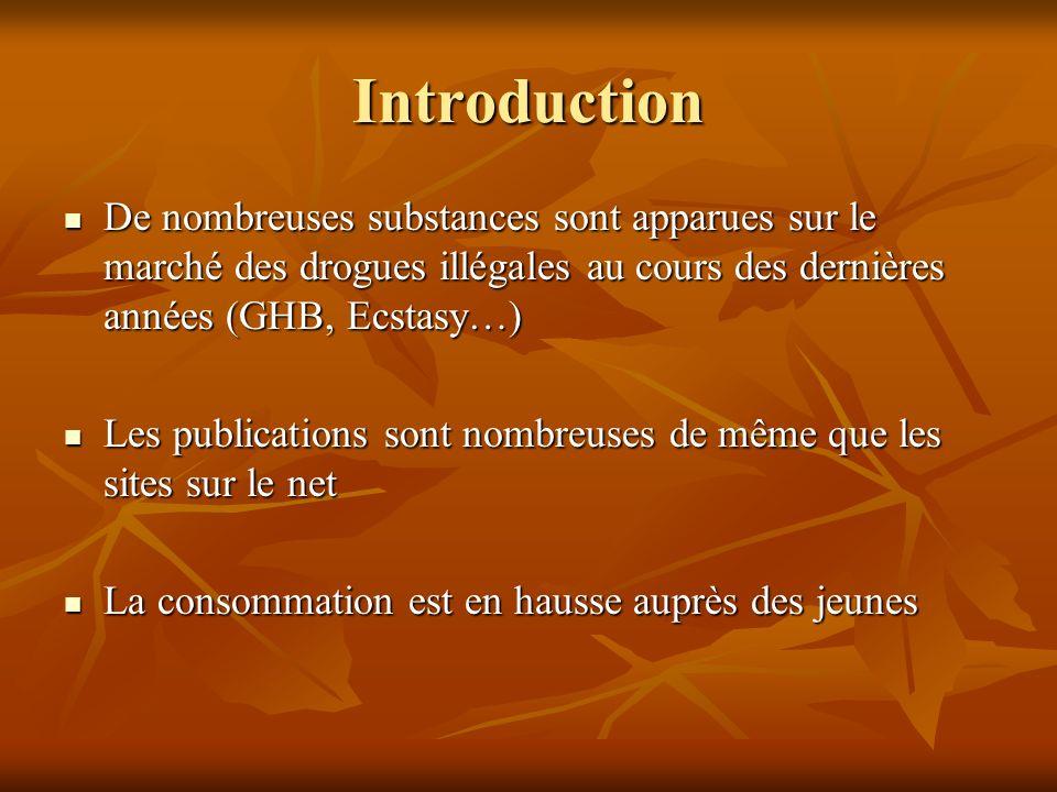 Introduction De nombreuses substances sont apparues sur le marché des drogues illégales au cours des dernières années (GHB, Ecstasy…) De nombreuses su