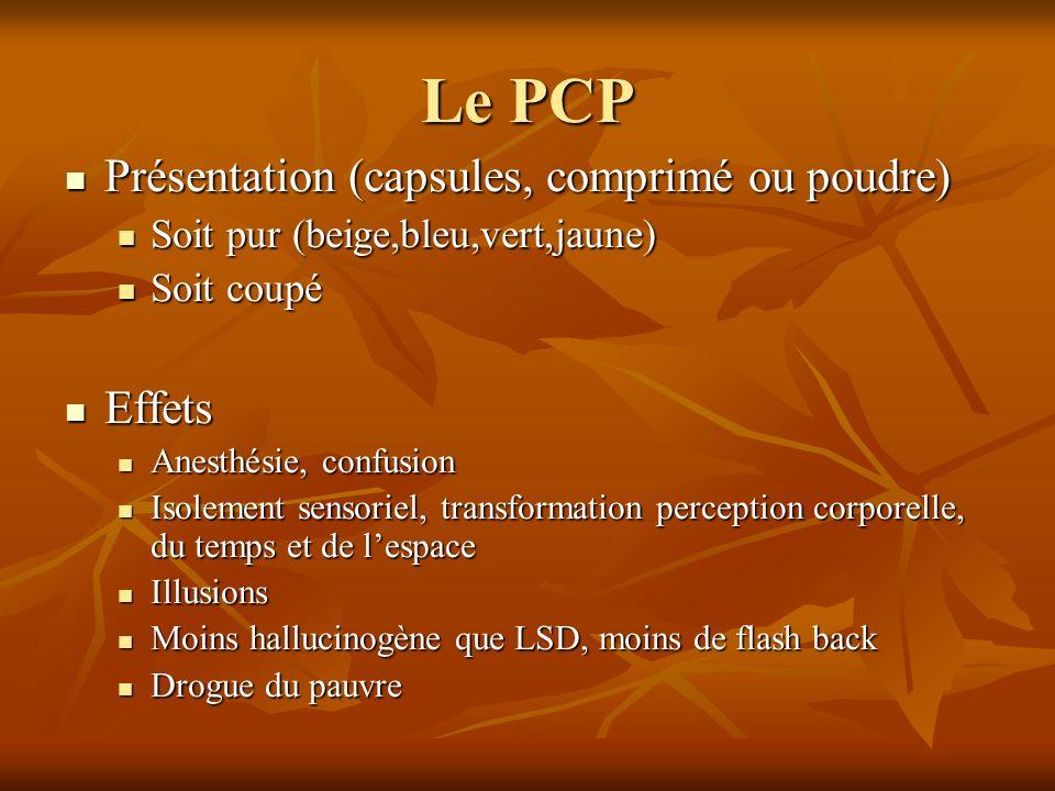 Le PCP Présentation (capsules, comprimé ou poudre) Présentation (capsules, comprimé ou poudre) Soit pur (beige,bleu,vert,jaune) Soit pur (beige,bleu,v