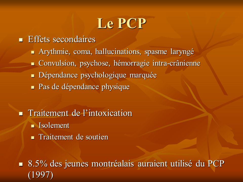 Le PCP Effets secondaires Effets secondaires Arythmie, coma, hallucinations, spasme laryngé Arythmie, coma, hallucinations, spasme laryngé Convulsion,