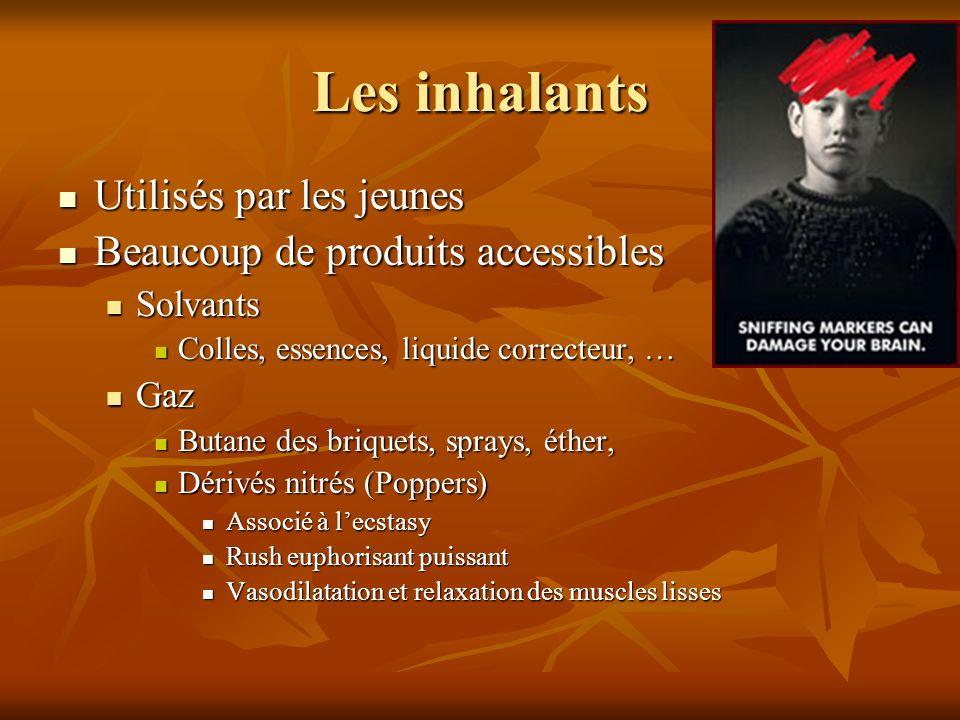 Les inhalants Utilisés par les jeunes Utilisés par les jeunes Beaucoup de produits accessibles Beaucoup de produits accessibles Solvants Solvants Coll