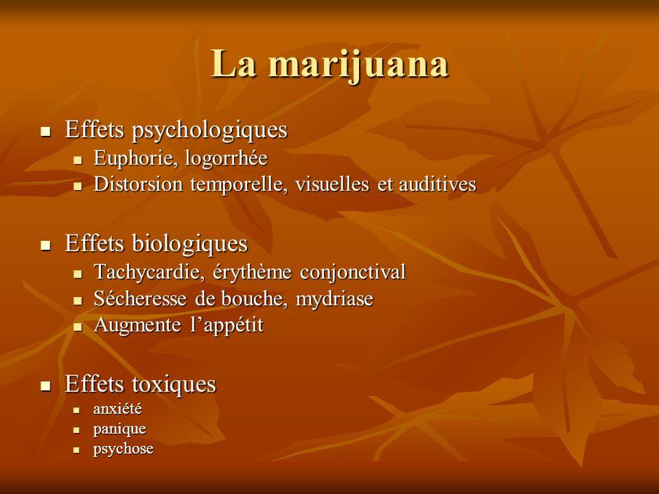 La marijuana Effets psychologiques Effets psychologiques Euphorie, logorrhée Euphorie, logorrhée Distorsion temporelle, visuelles et auditives Distors