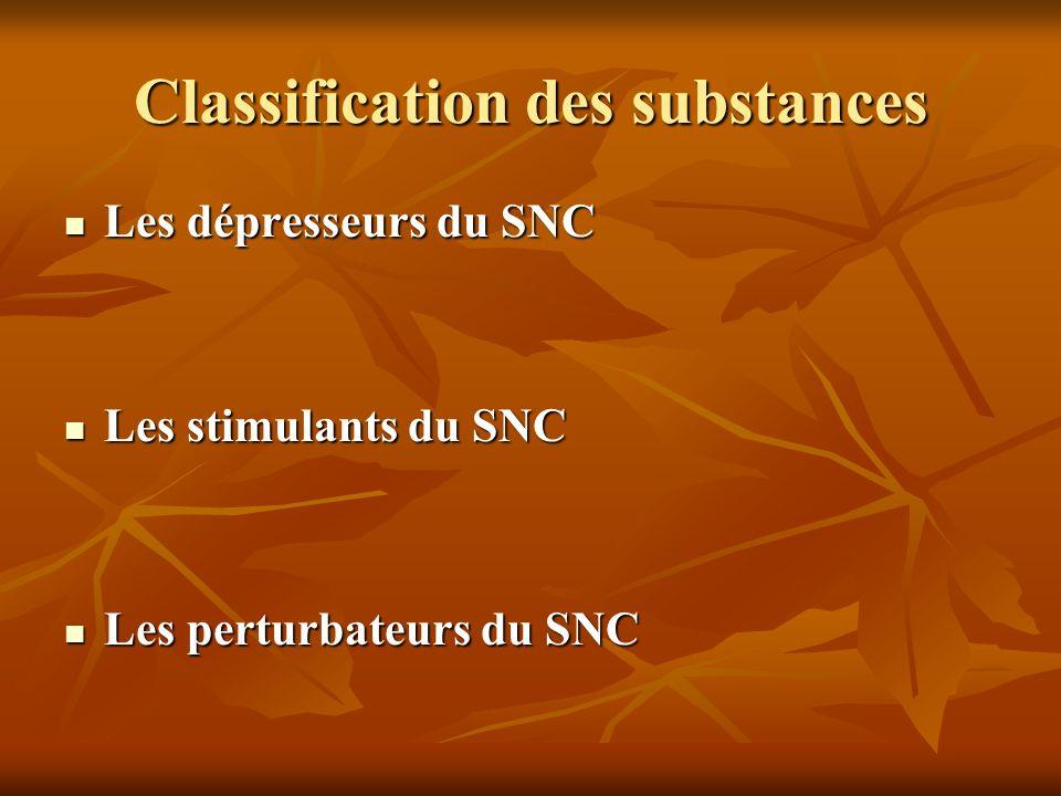 Classification des substances Les dépresseurs du SNC Les dépresseurs du SNC Les stimulants du SNC Les stimulants du SNC Les perturbateurs du SNC Les p