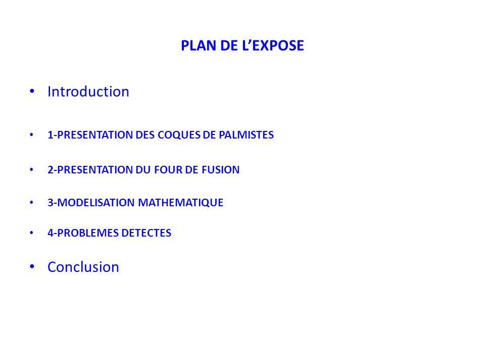 PLAN DE LEXPOSE Introduction 1-PRESENTATION DES COQUES DE PALMISTES 2-PRESENTATION DU FOUR DE FUSION 3-MODELISATION MATHEMATIQUE 4-PROBLEMES DETECTES Conclusion