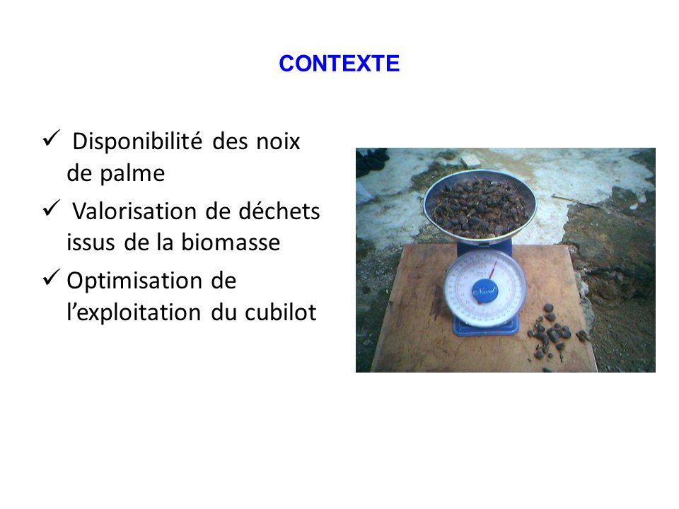 CONTEXTE Disponibilité des noix de palme Valorisation de déchets issus de la biomasse Optimisation de lexploitation du cubilot