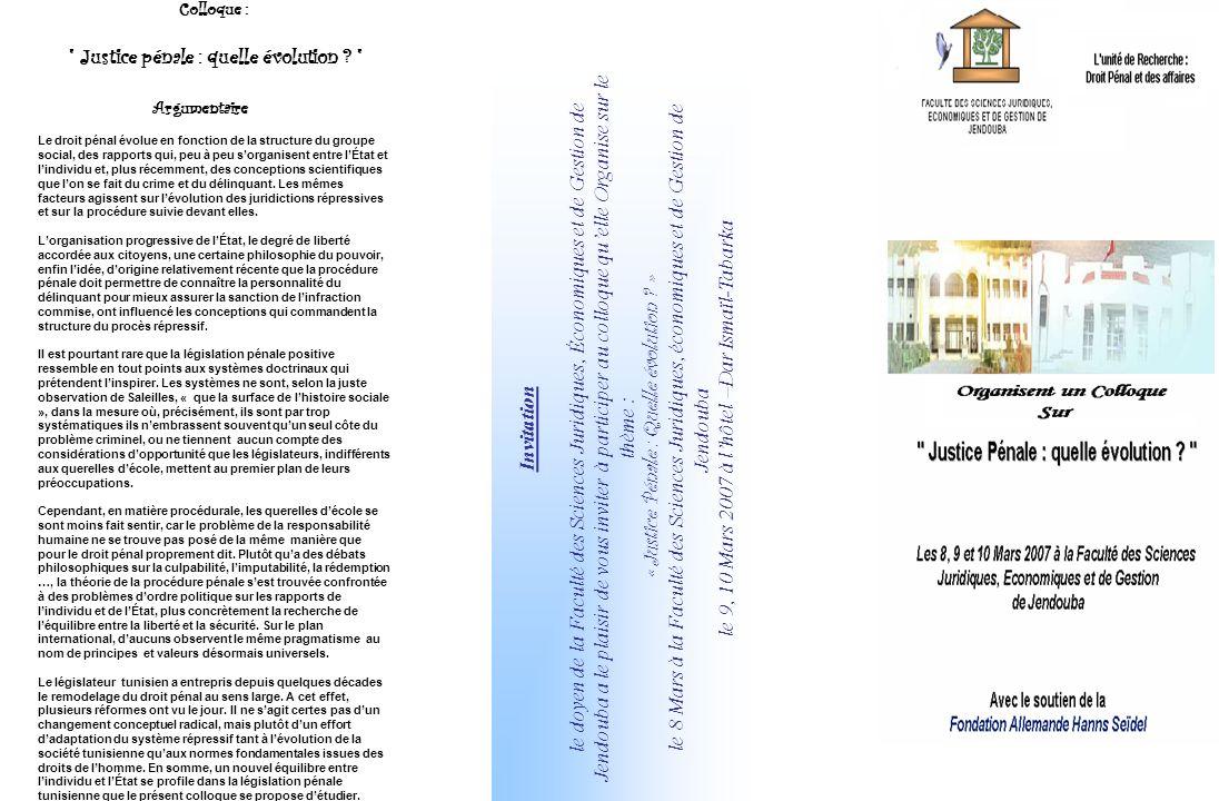 Invitation le doyen de la Faculté des Sciences Juridiques, Économiques et de Gestion de Jendouba a le plaisir de vous inviter à participer au colloque