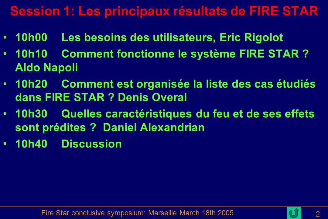 Fire Star conclusive symposium: Marseille March 18th 2005 2 Session 1: Les principaux résultats de FIRE STAR 10h00Les besoins des utilisateurs, Eric Rigolot 10h10Comment fonctionne le système FIRE STAR .