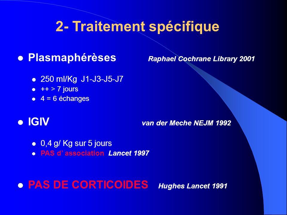 2- Traitement spécifique Plasmaphérèses Raphael Cochrane Library 2001 250 ml/Kg J1-J3-J5-J7 ++ > 7 jours 4 = 6 échanges IGIV van der Meche NEJM 1992 0
