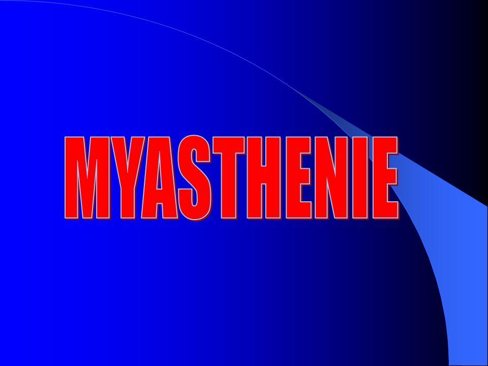 Diagnostic de la Crise Myasthénique Myasthénie connue – Arrêt du traitement anticholinestérasique – Surdosage anticholinestérasique – Décompensation par facteur X (infection, médicaments, MAI, chirurgie thymique…) – Crise Myasthénique véritable Mode dentrée dans la maladie (+ rare)