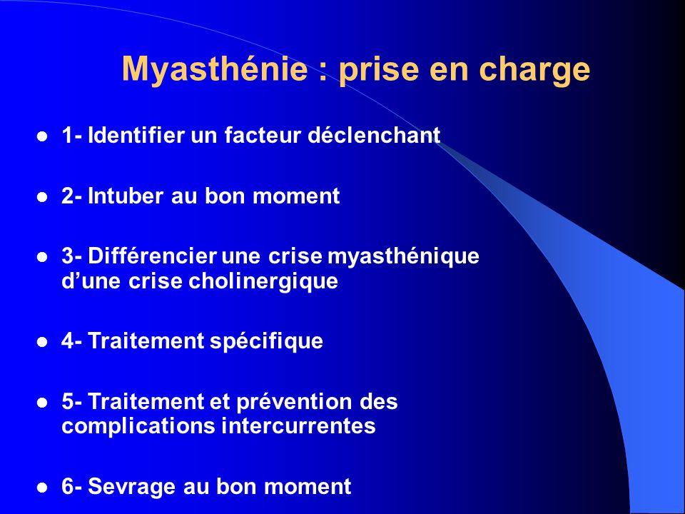 Myasthénie : prise en charge 1- Identifier un facteur déclenchant 2- Intuber au bon moment 3- Différencier une crise myasthénique dune crise cholinerg