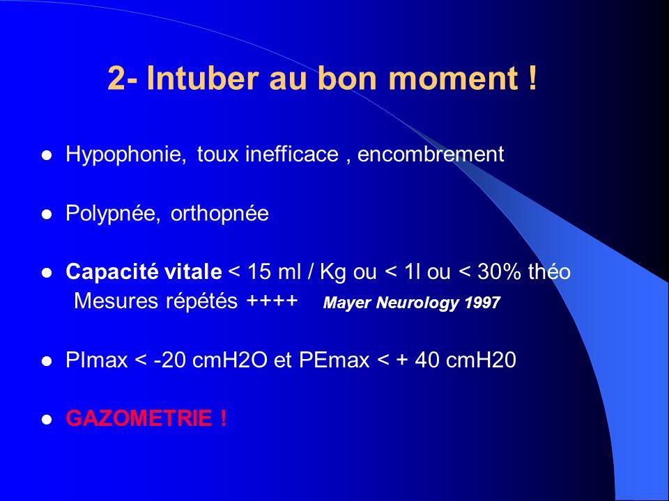 2- Intuber au bon moment ! Hypophonie, toux inefficace, encombrement Polypnée, orthopnée Capacité vitale < 15 ml / Kg ou < 1l ou < 30% théo Mesures ré