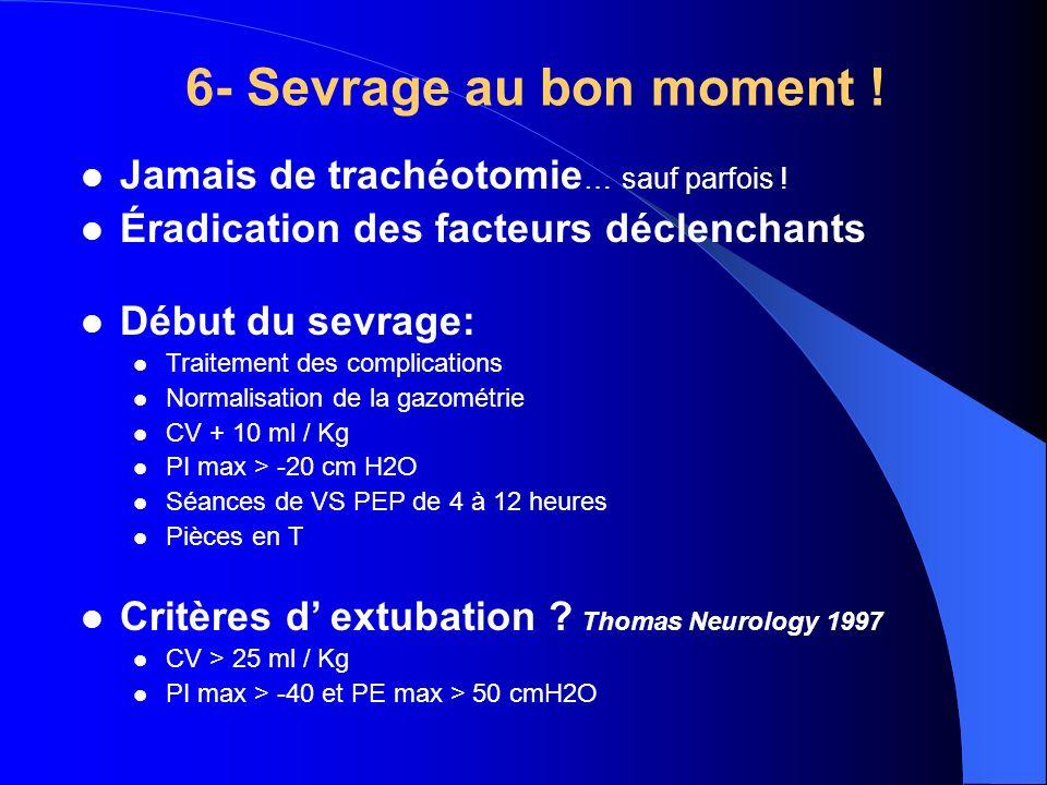 6- Sevrage au bon moment ! Jamais de trachéotomie … sauf parfois ! Éradication des facteurs déclenchants Début du sevrage: Traitement des complication
