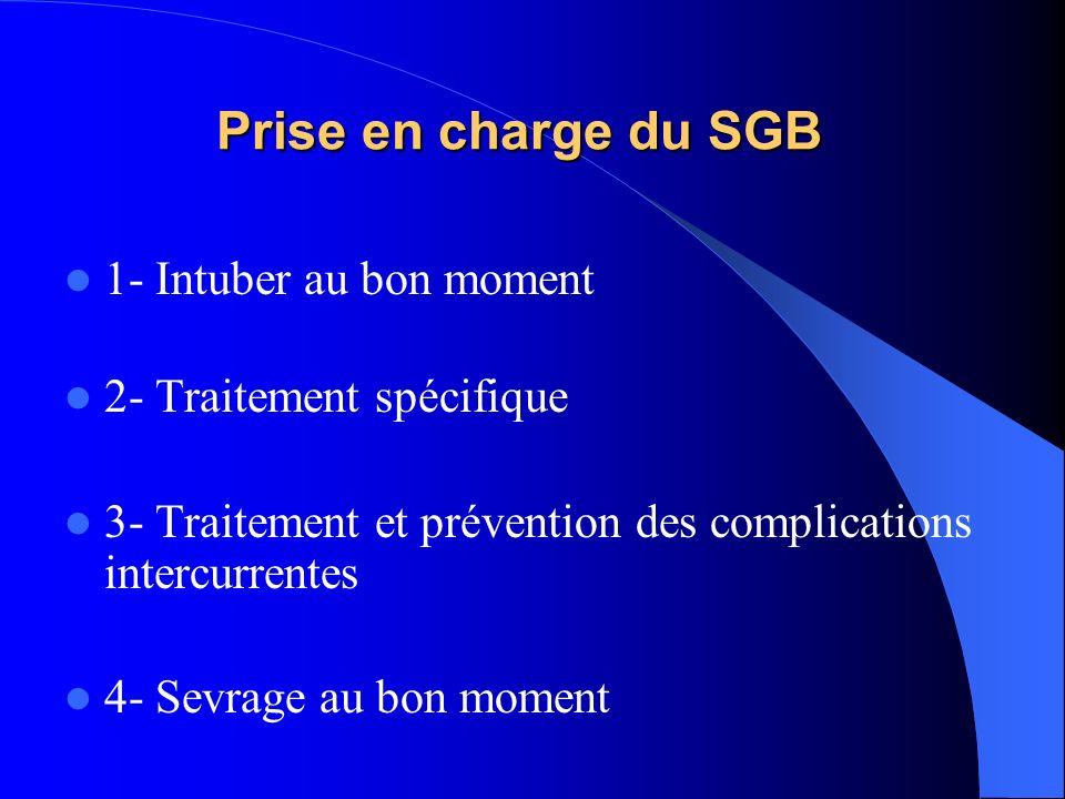 Prise en charge du SGB 1- Intuber au bon moment 2- Traitement spécifique 3- Traitement et prévention des complications intercurrentes 4- Sevrage au bo