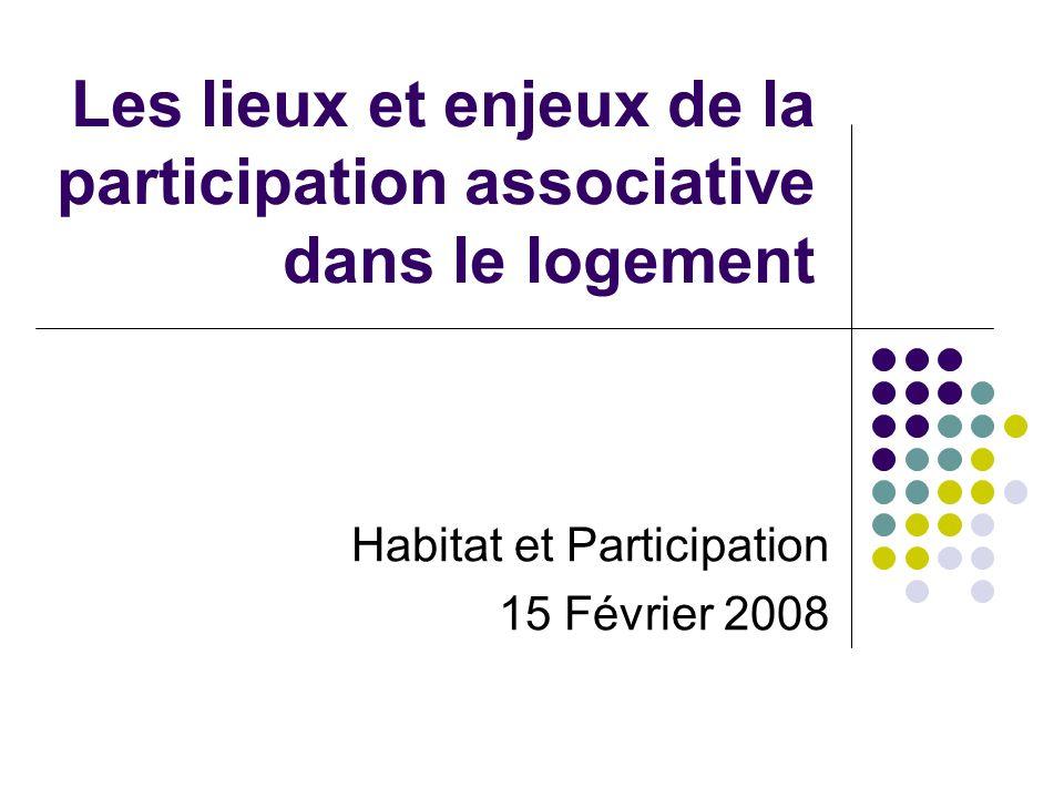 Les lieux et enjeux de la participation associative dans le logement Habitat et Participation 15 Février 2008
