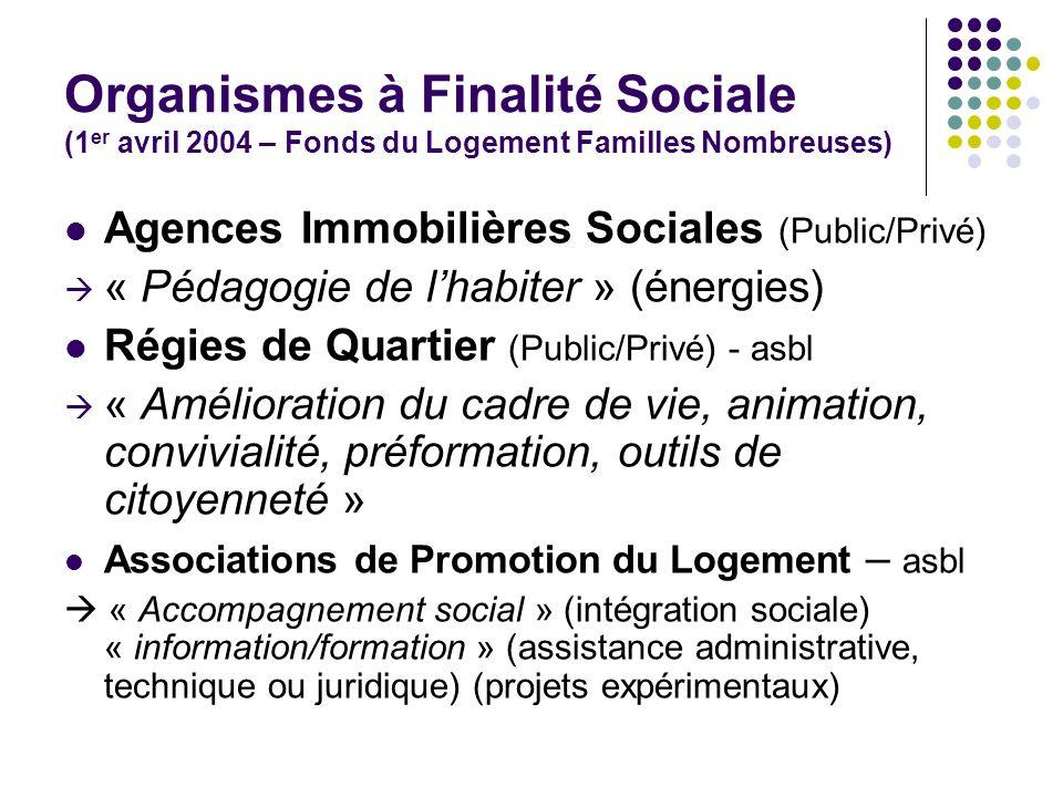 Organismes à Finalité Sociale (1 er avril 2004 – Fonds du Logement Familles Nombreuses) Agences Immobilières Sociales (Public/Privé) « Pédagogie de lh