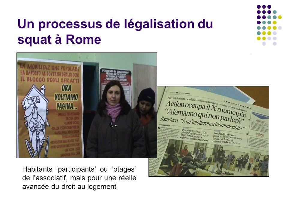 Un processus de légalisation du squat à Rome Habitants participants ou otages de lassociatif, mais pour une réelle avancée du droit au logement