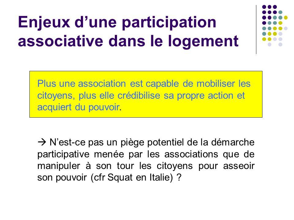Enjeux dune participation associative dans le logement Plus une association est capable de mobiliser les citoyens, plus elle crédibilise sa propre act