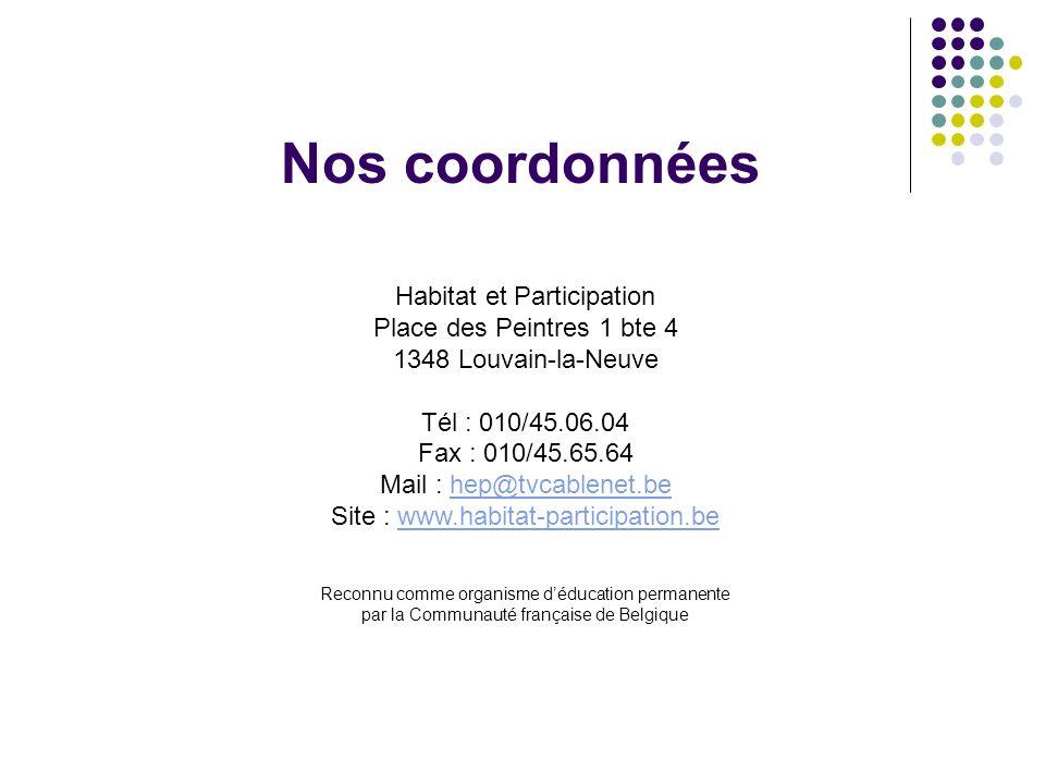 Nos coordonnées Habitat et Participation Place des Peintres 1 bte 4 1348 Louvain-la-Neuve Tél : 010/45.06.04 Fax : 010/45.65.64 Mail : hep@tvcablenet.