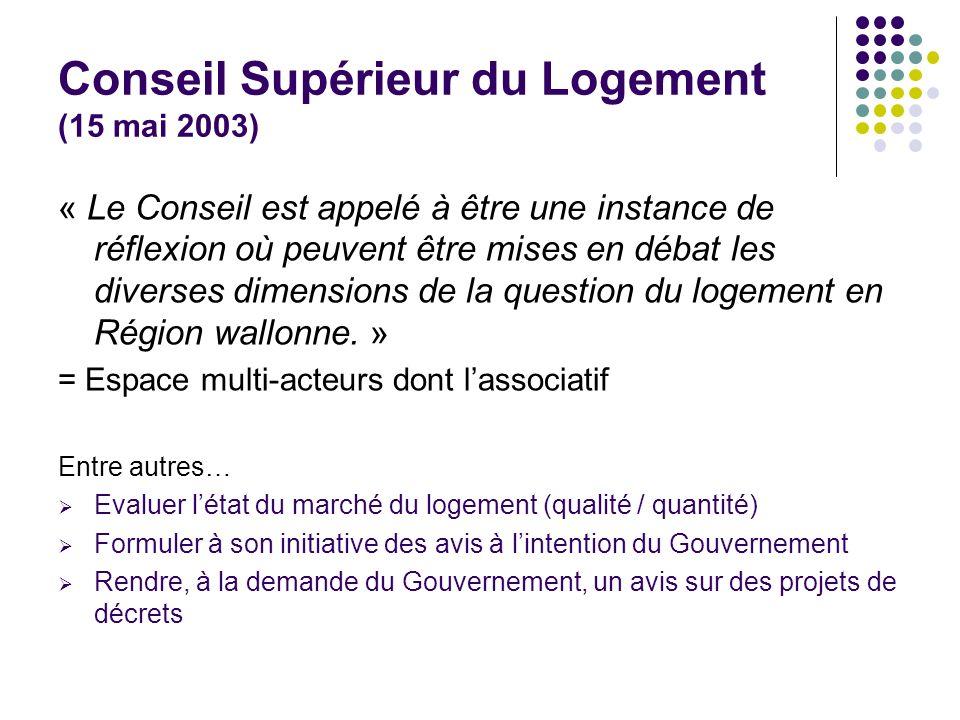Conseil Supérieur du Logement (15 mai 2003) « Le Conseil est appelé à être une instance de réflexion où peuvent être mises en débat les diverses dimen