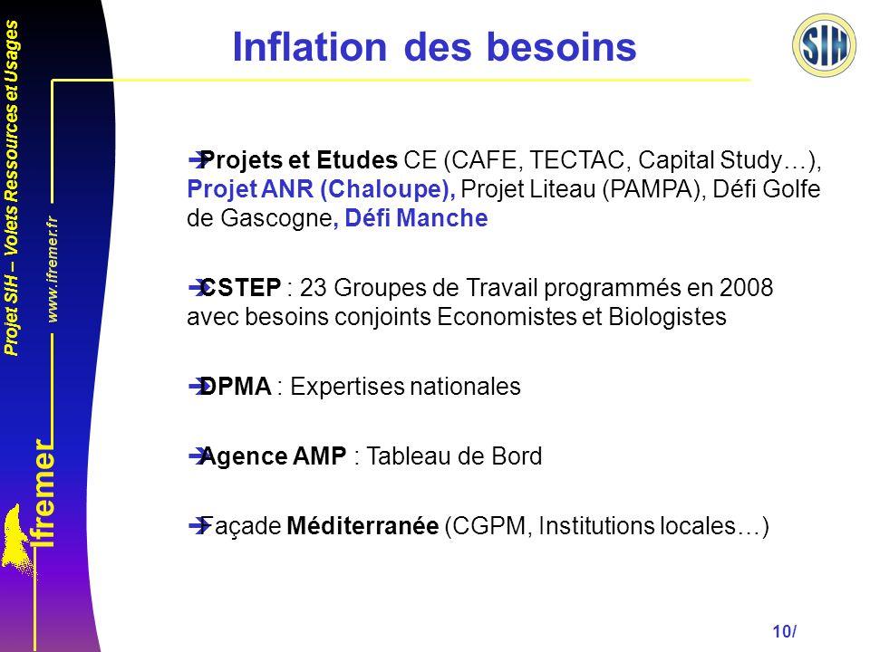 Projet SIH – Volets Ressources et Usages 10/ Inflation des besoins èProjets et Etudes CE (CAFE, TECTAC, Capital Study…), Projet ANR (Chaloupe), Projet Liteau (PAMPA), Défi Golfe de Gascogne, Défi Manche èCSTEP : 23 Groupes de Travail programmés en 2008 avec besoins conjoints Economistes et Biologistes èDPMA : Expertises nationales èAgence AMP : Tableau de Bord èFaçade Méditerranée (CGPM, Institutions locales…)