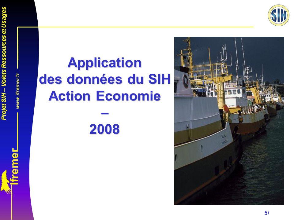 Projet SIH – Volets Ressources et Usages 5/ Application des données du SIH Action Economie – 2008