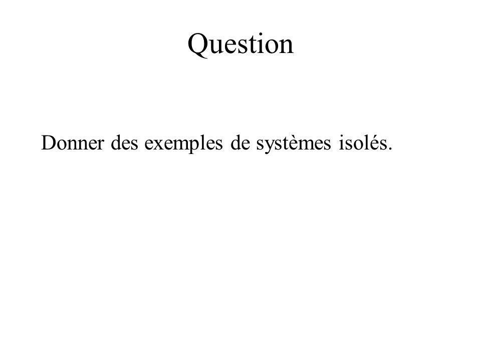 Question Donner des exemples de systèmes isolés.